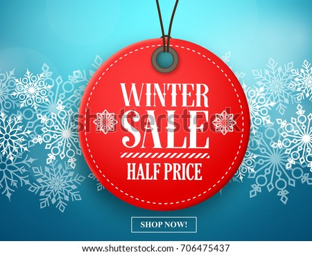 winter sale tag vector banner
