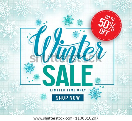 Winter sale vector banner design with white snowflakes elements and winter sale text in snow pattern background for shopping promotion. Vector illustration.