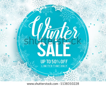 Winter sale vector banner template with white snowflakes background, snow elements and blue circle for winter sale typography. Vector illustration.
