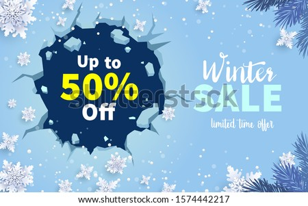 winter sale with ice and snowflake. background and illustration promotion in winter