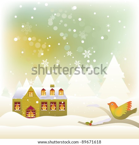 Winter scene, bird on perched tree and a snow covered house by BibiDesign