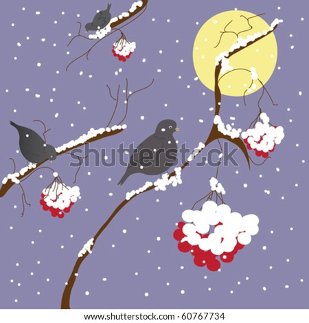 Winter scene with birds and moon - stock vector