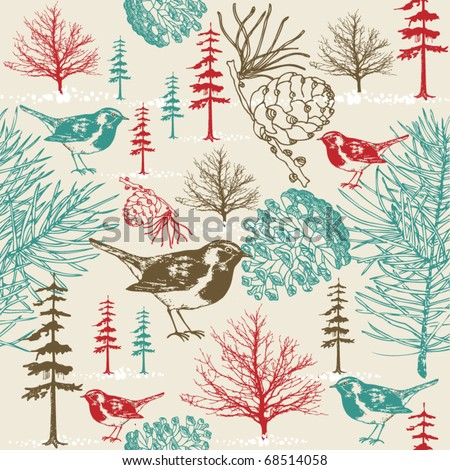 winter scene with birds