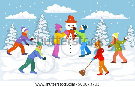 winter scene with children