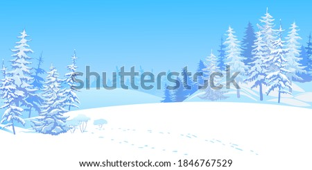 winter scene with falling snow