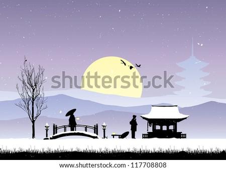 winter scene with japanese