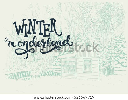 winter scene with small house