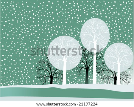 winter scene with snow and trees