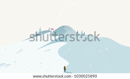winter scenery landscape  man