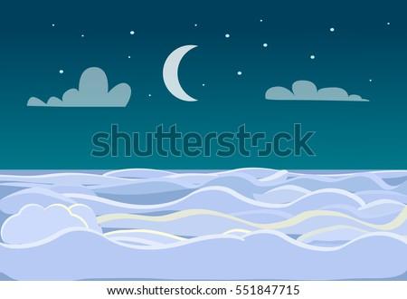 winter scenery of field on dark