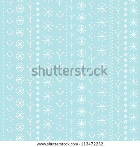Winter seamless background for design greeting card, paper, textile. Decorative ornamental background. Blue gentle texture with snowflakes.