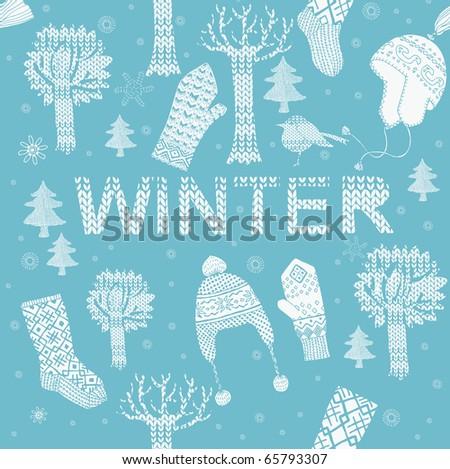 Winter seamless pattern - stock vector