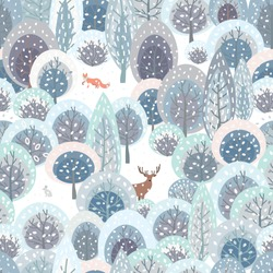 Winter seamless pattern with abstract flat handdrawn forest trees, forest animals: fox, deer, hare and snow. Christmas, New Year's mood. Great for fabric, textile, wrapping paper, scrapbooking. Vector