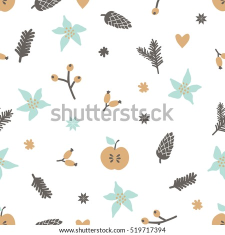Winter seamless pattern with berries, snowflakes, branches and pinecones in light, blue, brown and yellow on white background.