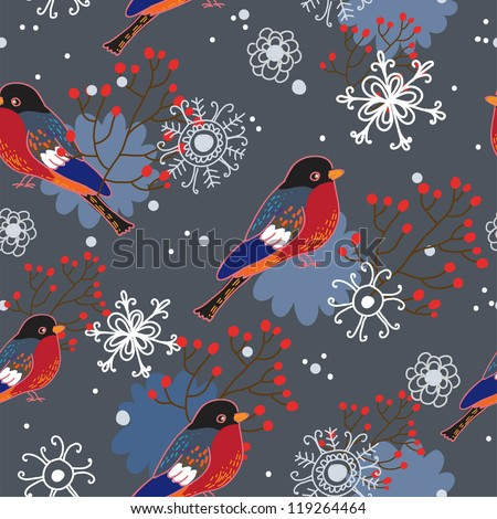 Winter seamless pattern with bullfinches