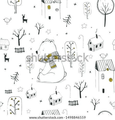Winter seamless pattern  with Cute polar bear ,houses trees and deer for Christmas fabrics and decor. hand drawn vector illustration.