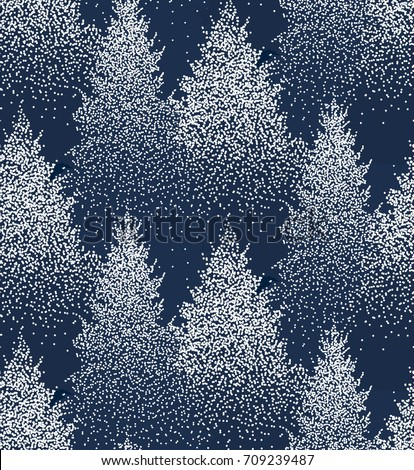 Winter Seamless Pattern with Fir Trees and Pines in Snow. Coniferous Forest. Christmas Decoration. Vector illustration