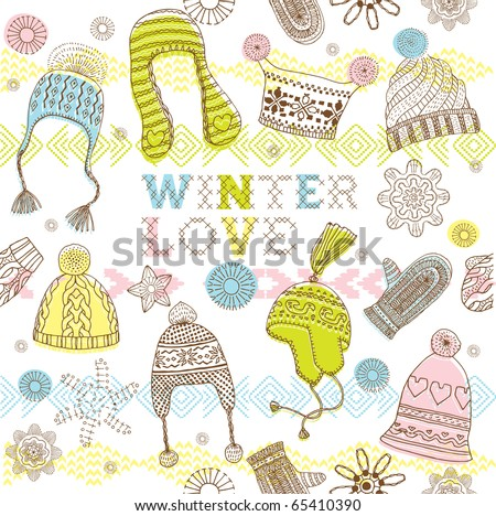 Winter seamless pattern with hats, mittens