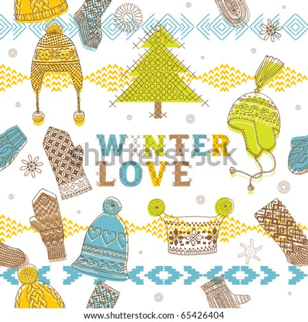 Winter seamless pattern with hats, mittens and socks