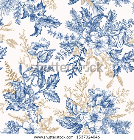 Winter seamless pattern with hellebore flowers, ferns, conifers, eucalyptus seeds. Christmas vintage background. Botanical illustration. Blue and gold.