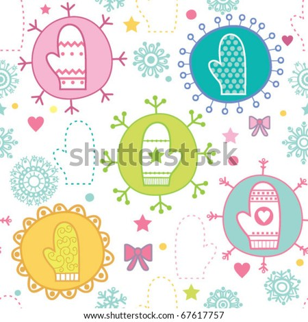Winter seamless pattern with mittens