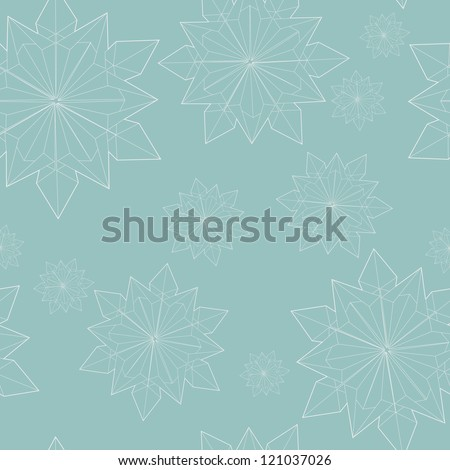 Winter seamless pattern with origami snowflakes outlines. Vector illustration.