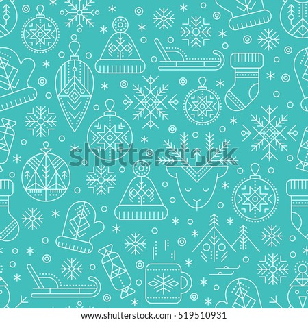 Winter seamless pattern with outlined seasonal signs. White and blue color palette. Minimalistic design layout. Creative tribal line style background