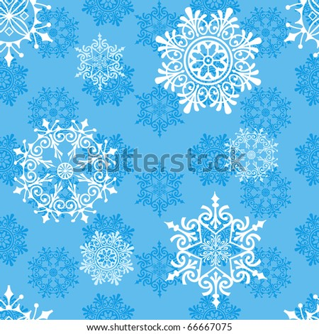 Winter seamless pattern with snowflakes in blue color