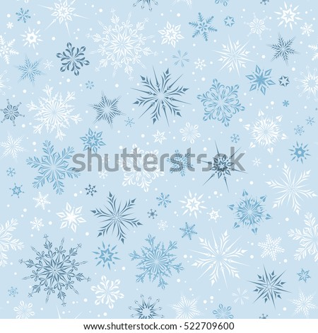 Winter seamless pattern with snowflakes. Vector illustration.