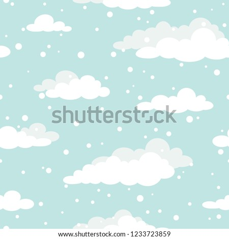 Winter Seamless pattern with white clouds and flat snowflakes and dots on blue sky.  New Year backdrop. Vector Christmas background for fabric, textile, wrapping paper, card, invitation, wallpaper.