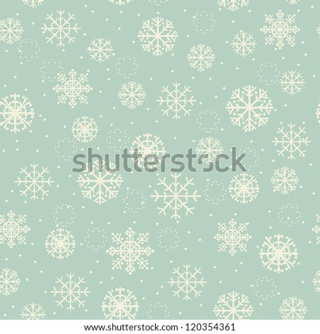 Winter seamless texture with ornamental snowflakes. Old pattern, for design Christmas greeting cards, backgrounds, textile, package, wrapping paper