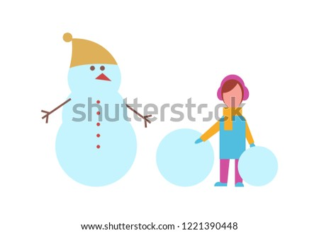Stock Photo Winter season activities, snowman wearing hat and girl standing with snow ball vector. Female kid in warm clothes, seasonal outdoor games for child