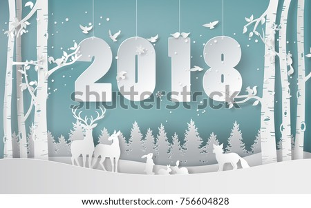 winter season and merry christmas with the animal in the forest, paper art and digital craft style.