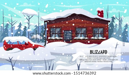 Winter Season Blizzard Warning. Car House Building in Forest Covered Snow Vector Illustration. Snowstorm Snowfall Weather. Dangerous Slippery Road Snowdrift Street. Natural Disaster
