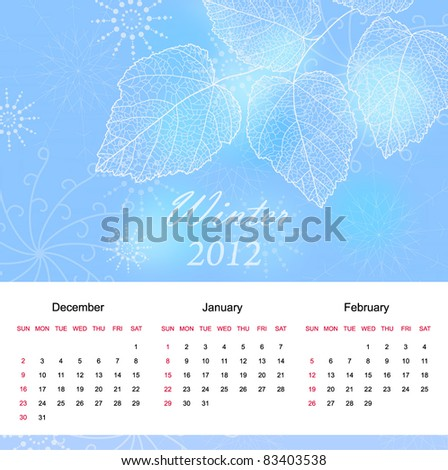 Winter season calendar page of new  2012 year  with background an text  (vector eps 10)