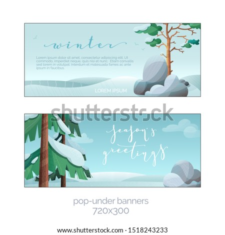 Winter season greetings flat vector banner templates set. Decorative snow covered firs, pines, stones. New Year celebration greeting card with text space. Christmas holiday postcard with lettering