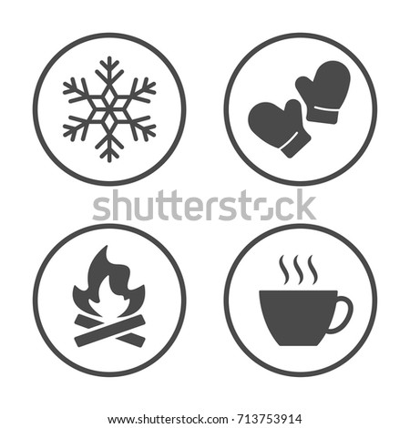 Winter season icon vector design. Simple rounded weather icons set.