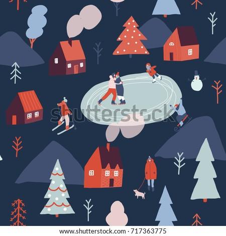 Winter season illustration with people are skiing, ice skating, sledding. Christmas seamless pattern.
