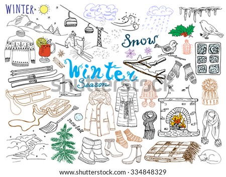 winter season set doodles