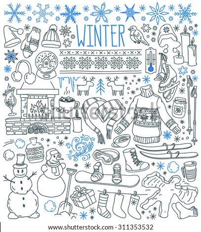 Winter season themed doodle set - snowflakes, icicles, classic ornaments, knitted wear, winter sports. Freehand vector drawings isolated over white background.