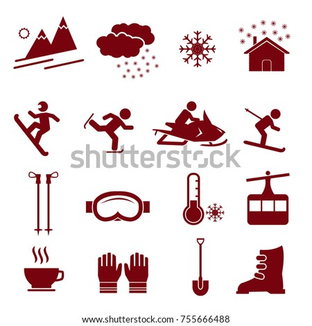 Winter season vector icon set, icons such as skiing, snow, mountain, goggles, coffee and others