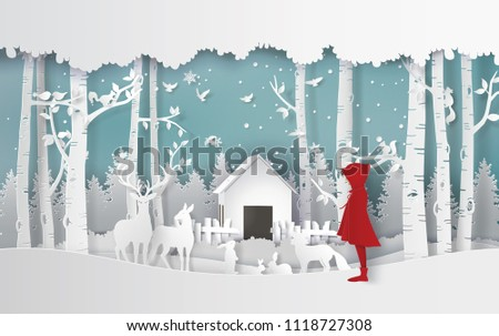 winter season with the girl in red coat and the animal in the jungle.Paper art and craft style.