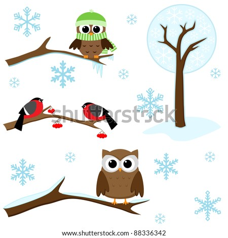 Winter set -  birds on branches, tree and snowflakes