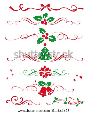 Winter set of decorative calligraphic elements, dividers and  new year ornaments for page decor. Vector christmas decorations.