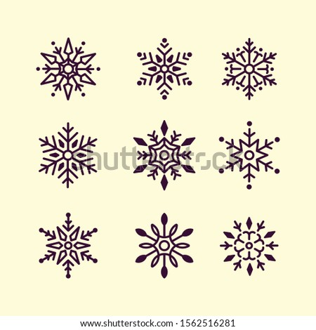 Winter set of white snowflakes isolated on dark background. Snowflake icons. Snowflakes collection for design Christmas and New Year banner and cards. Vector illustration.