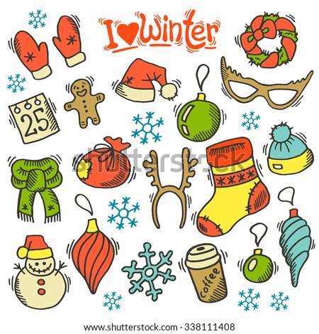Winter set with sketch holidays symbols.