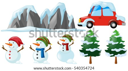 winter set with snowman and