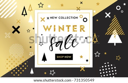 Winter shopping sale flyer template with lettering. Trendy cute background. Poster, card, label, banner design. Geometrical fond. Vector illustration EPS10.