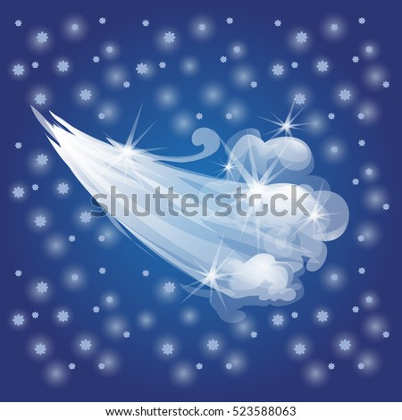 Winter sketch with breath a cold wind. Sample of Christmas and New year greeting card, festive poster or party invitations. The flow of cold air. Vector illustration.