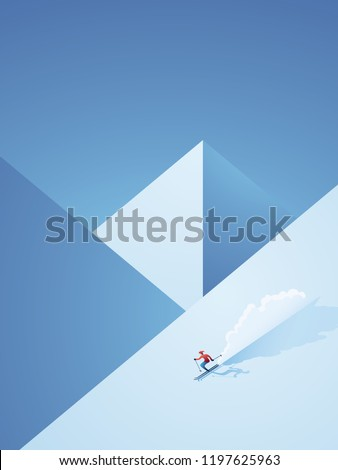 Winter skiing vector poster with skier going downhill on the mountain. Freeskiing vacation advertisement or promotion for winter holiday season. Eps10 vector illustraiton.